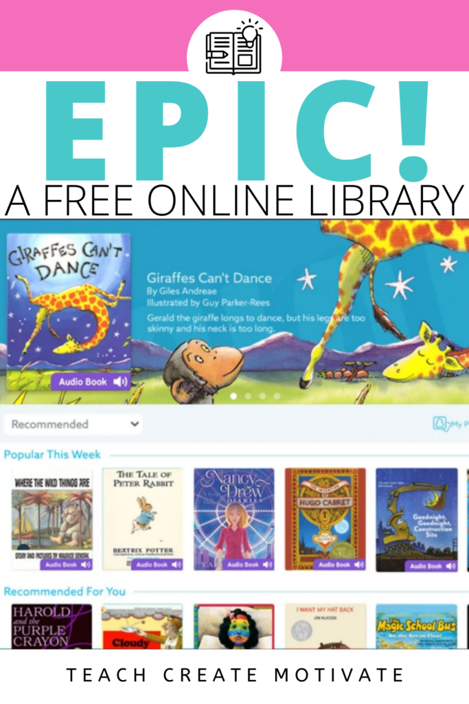 """Want to add to your independent reading activities? Add Epic! to your choice board, centers, or stations. This website is FREE for educators and is a reading app as well. Track your students' progress, assign books, use for read-aloud or small groups! Epic! can be sorted by genre, interest, grade level, DRA, Lexile, or Fountas Pinnel. It has popular books, a built-in dictionary, """"read to me,"""" or audiobook features. read to self or listening stations (Kindergarten, 1st, 2nd, 3rd, 4th, 5th grade)"""