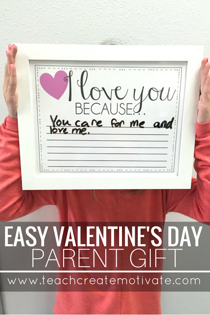 This free & cute printable is the perfect Valentine's Day gift for parents! Students take turns writing why they love their families on the frame!