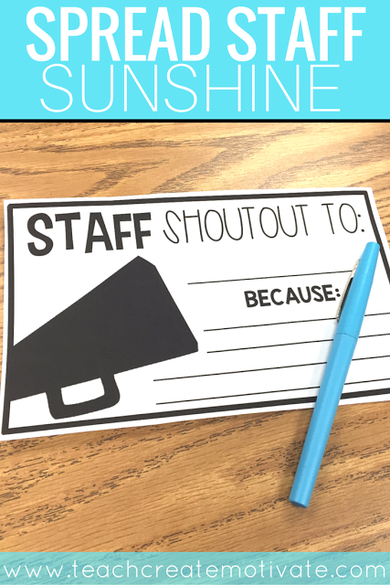 Classroom T Shirt Design ~ Staff shout outs spread school sunshine teach create