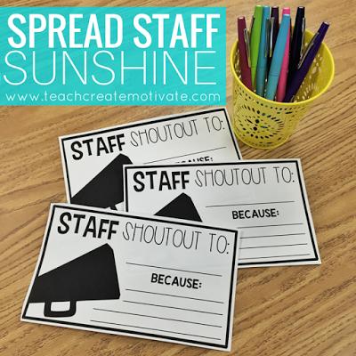 Staff Shout Outs: Spread School Sunshine! - Teach Create ...