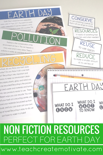 Nonfiction reading passages and vocabulary cards to engage students in learning about Earth Day
