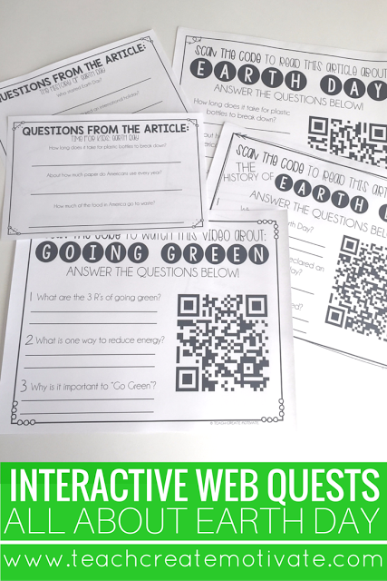 Webquests perfect for informal assessment about Earth Day