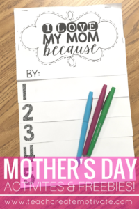 This Mother's Day Flipbook is the perfect gift for your students to give their Moms!