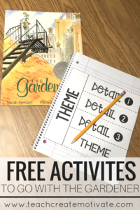 Great freebies to go with the book, The Gardener!