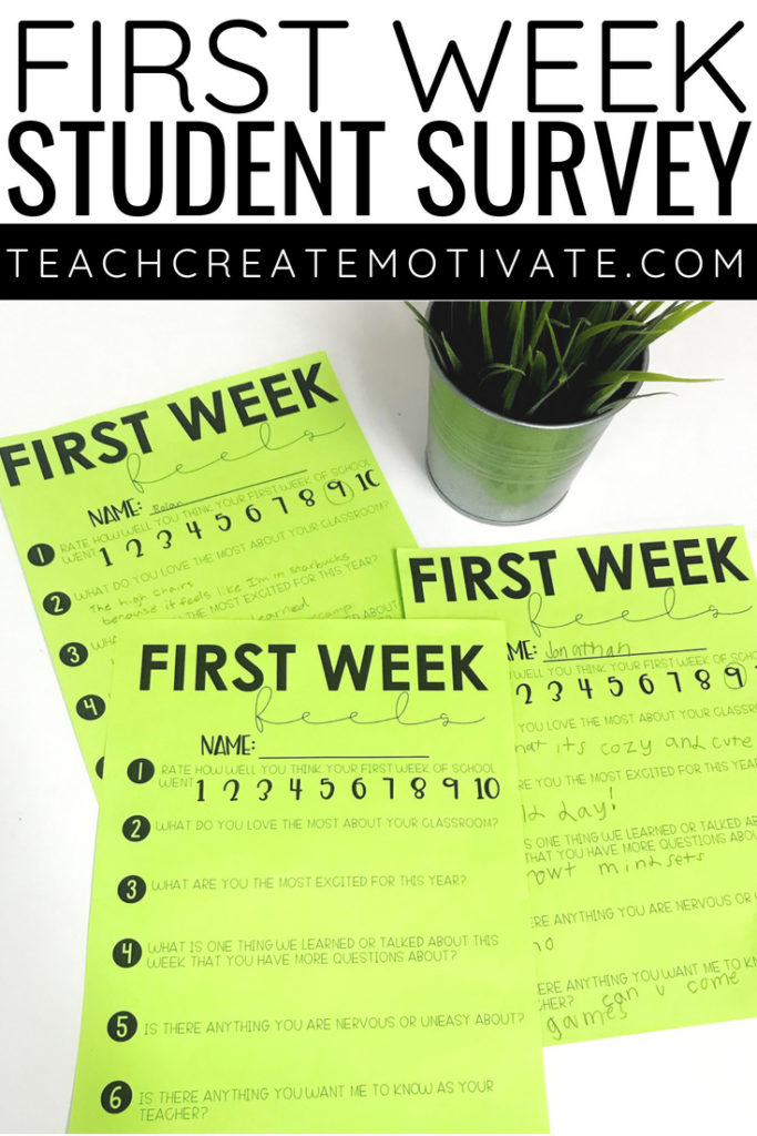 Start building relationships with this first week feels student survey!