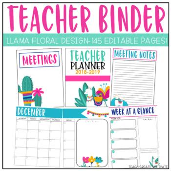 picture about Printable Teacher Planner named Llama Instructor Planner Editable!1 - Prepare Establish Encourage