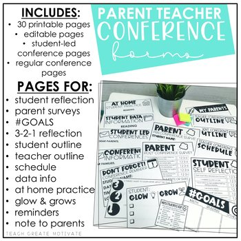 image about Printable Parent Teacher Conference Forms referred to as Father or mother Trainer Convention Styles (Editable)