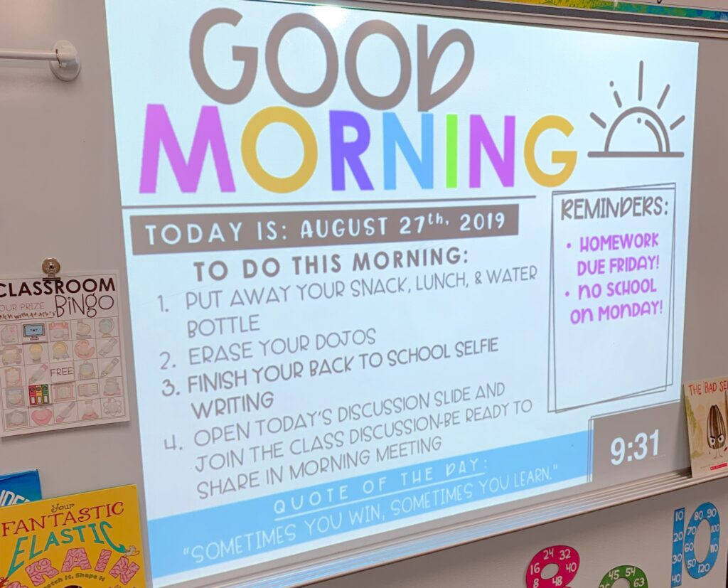 Picture of a Morning Agenda in a classroom