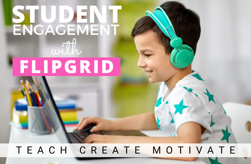 Smiling student looking at a computer | Student Engagement with Flipgrid