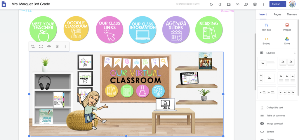 Screenshot of a digital teaching space within Google Classroom