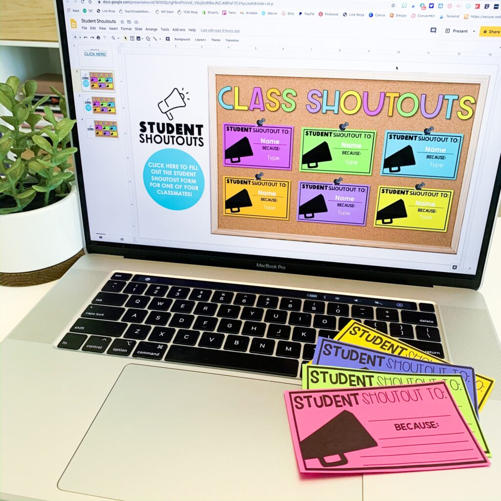 Classroom community building with digital class shoutouts