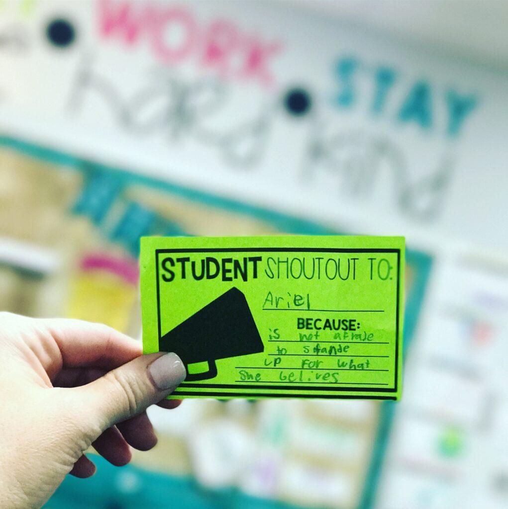 Close-up of a student shoutout
