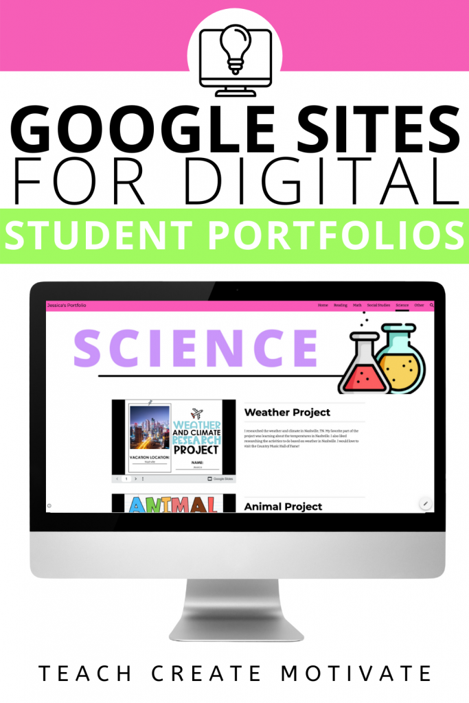 Tips on how to use Google Sites for your student portfolios & free template!