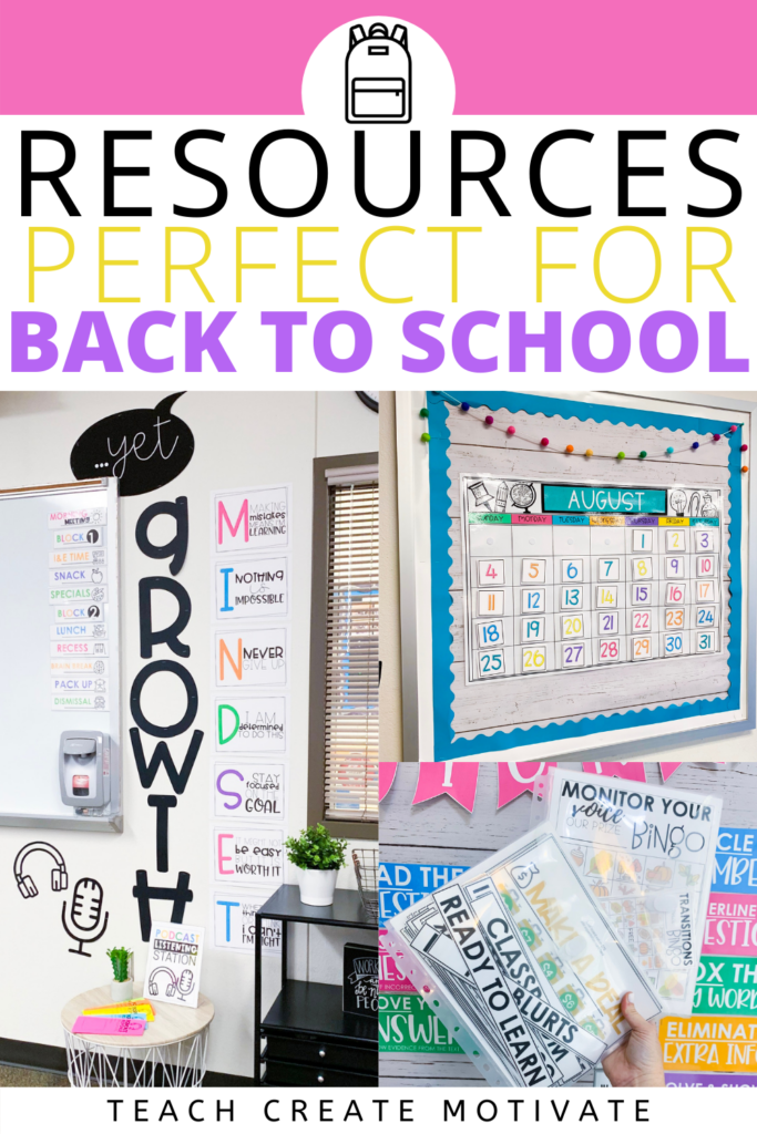 Back to school resources for classroom management, student engagement, establishing routines, classroom set up and building classroom community. These back-to-school resources are perfect for elementary classrooms, & can work in middle school classrooms too! Includes back-to-school bulletin boards, labels, decor, nametags, calendar, birthday board, and more! Back to school ideas for teachers in first, second, third, fourth & fifth grade. (Kindergarten, 1st, 2nd, 3rd, 4th, 5th grade)