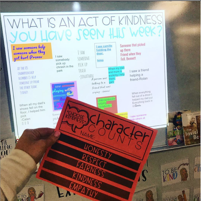 """discussion slide that read """"What is an act of kindness you have seen this week?"""""""