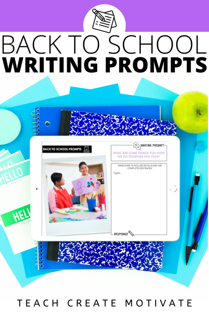 Back-to-school writing prompts are a great way to beat the summer slump and get your students back into a writing routine. Real photos help support all students and are great for ELLs and reluctant writers. Grab 12 FREE writing prompts for back to school for your elementary classroom. This writing activity is sure to be a hit! ( Kindergarten, 1st grade, 2nd grade, 3rd grade, 4th grade, 5th grade)