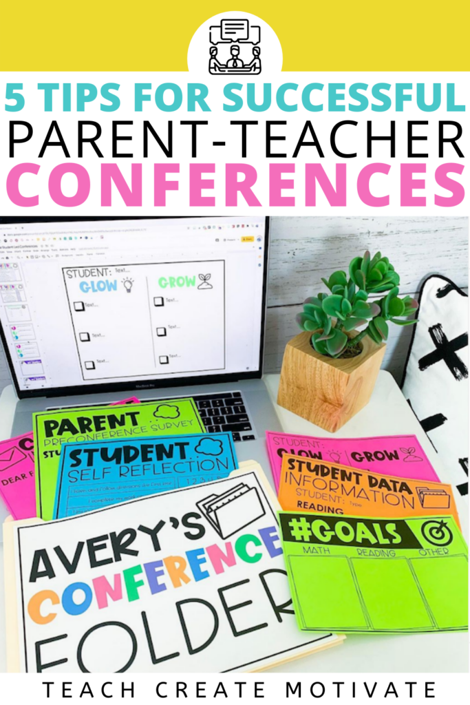 Parent-teacher conferences can get overwhelming! Prepare and organize for conferences with these 5 helpful tips! There are tips for virtual conferences, positive parent communication, student-led conferences, goal setting, data, digital sign-ups, and more! Includes a student goals FREEBIE! Elementary student conferences have never been easier!( Kindergarten, 1st grade, 2nd grade, 3rd grade, 4th grade, 5th grade)